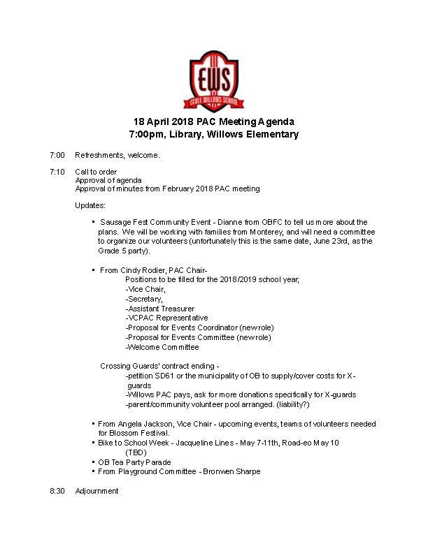 April 18 PAC Meeting Agenda