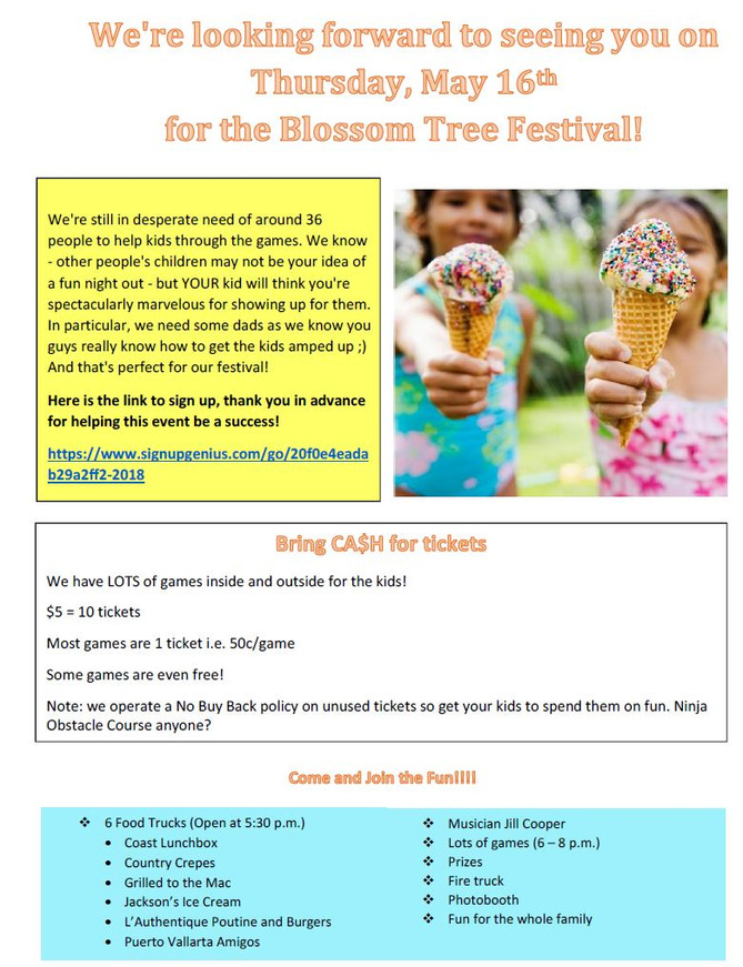 More volunteers needed for the Blossom Tree Festival on May 16