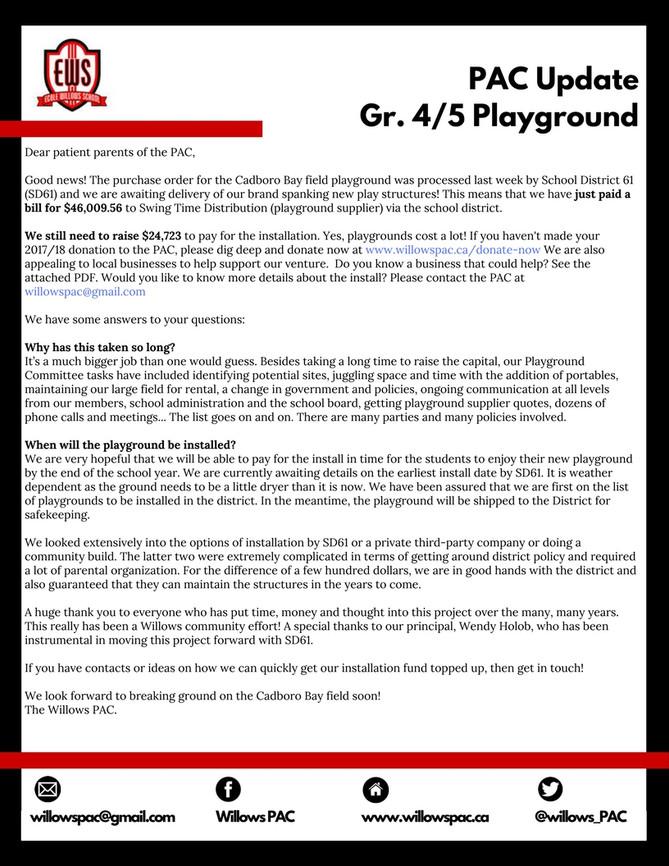 Grade 4/5 Playground Update