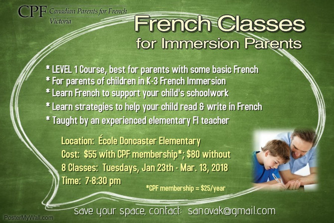 French classes for Immersion parents are back in January!