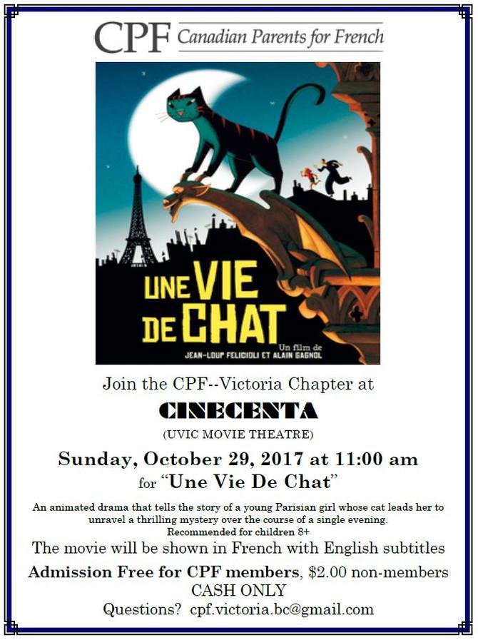 """CPF Movie """"Une Vie de Chat"""" Oct 29th"""