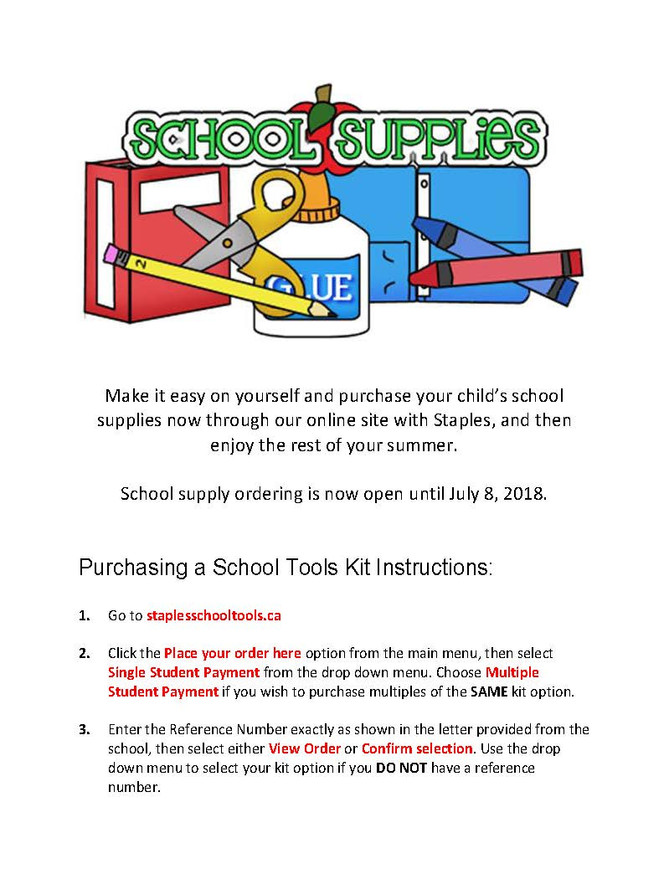 School Supplies ordering for 2018-2019