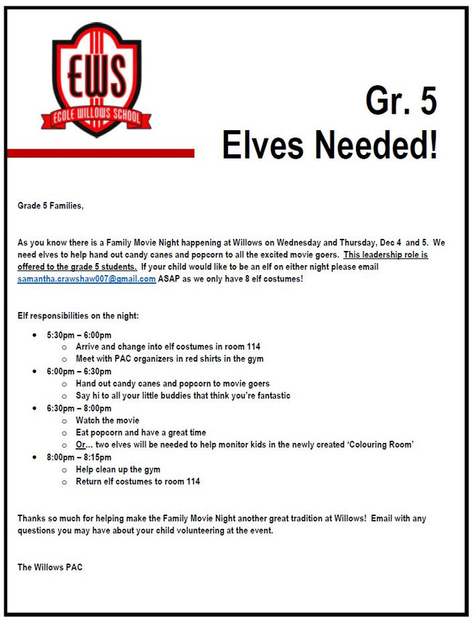 Grade 5 Elves needed for Movie Nights