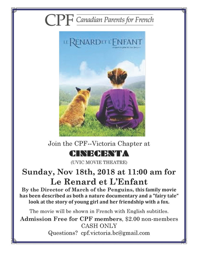French Family Movie Sun Nov 18th 11am at Cinecenta