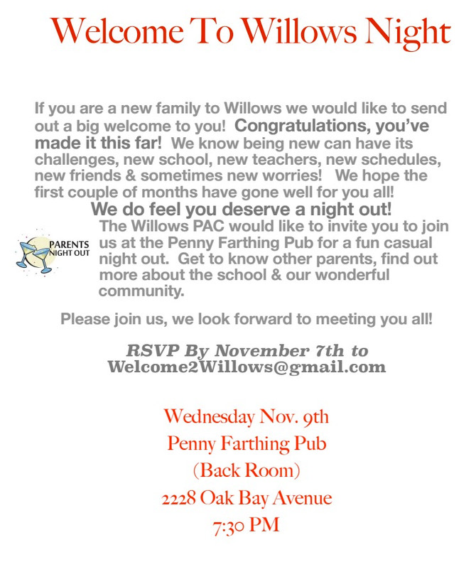 If you're a new Gr 1 - 5 family at Willows...