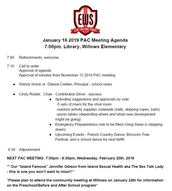 Agenda for Jan 16, 2019 PAC Meeting