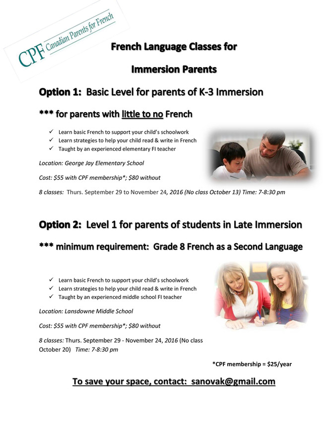 French Language Classes for Immersion Parents - time sensitive