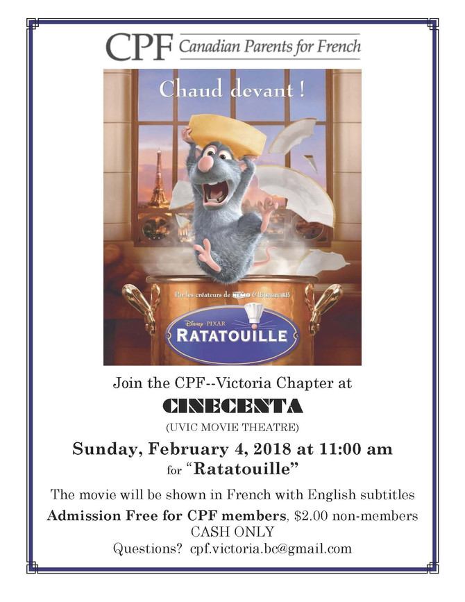 Canadian Parents for French movie - Feb 4