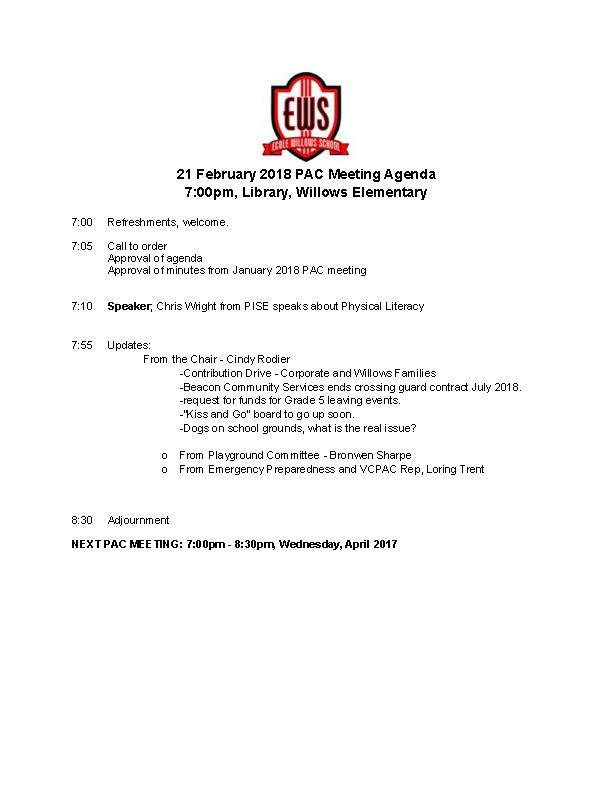 Feb 21 PAC Meeting Agenda
