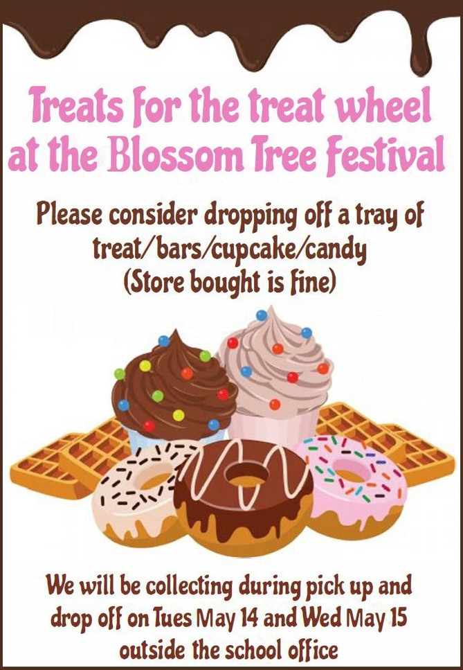 Treats needed for the Blossom Tree Festival