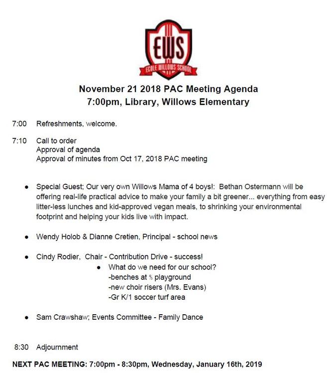 Nov 21, 2018 Meeting Agenda