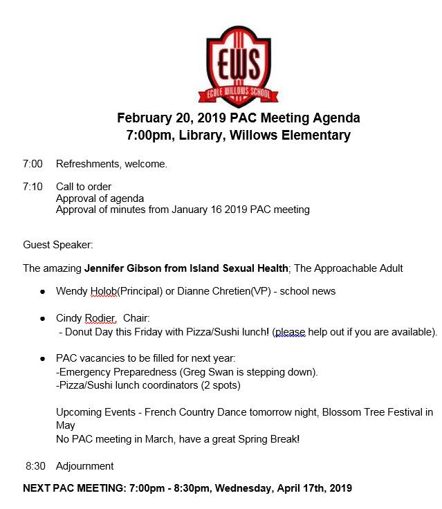 Agenda - Feb 20, 2019 PAC Meeting