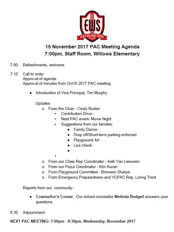 Nov 2017 PAC Meeting Agenda