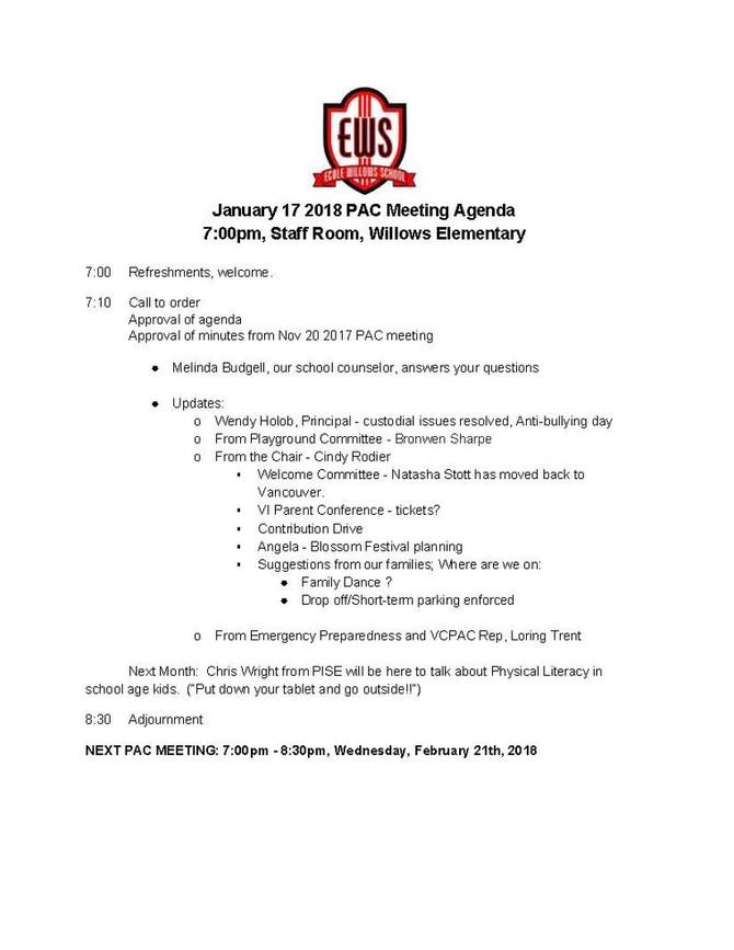 January 17, 2018 Meeting Agenda