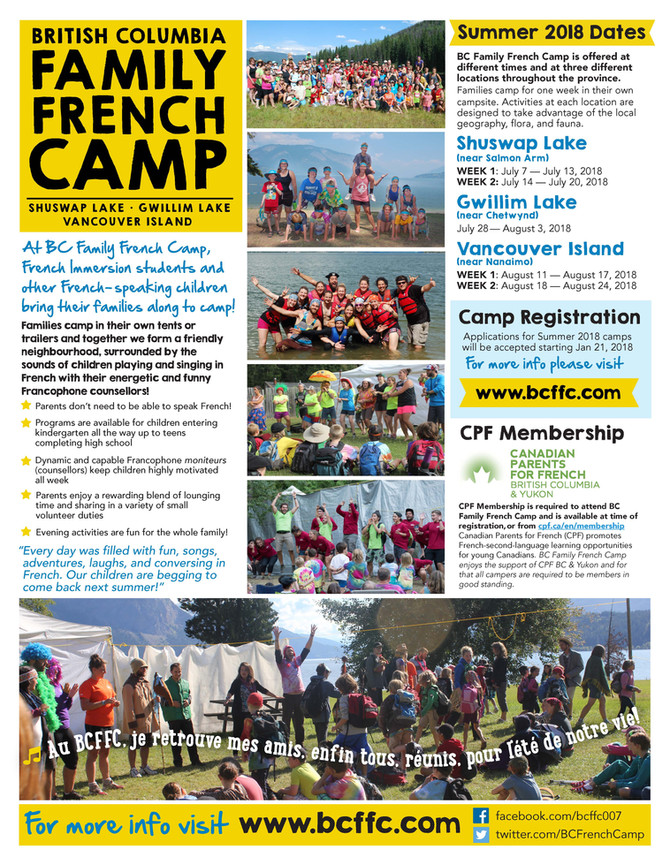 BC Family French Camps - Summer 2018