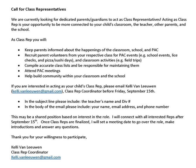 Call for Class Reps!