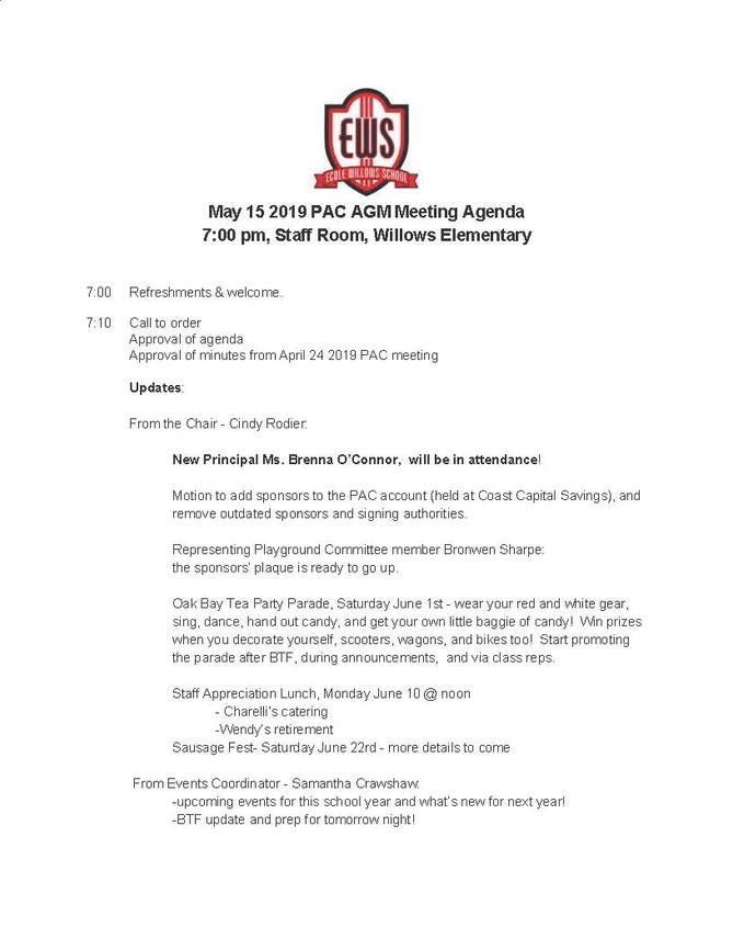 May 15 AGM Agenda