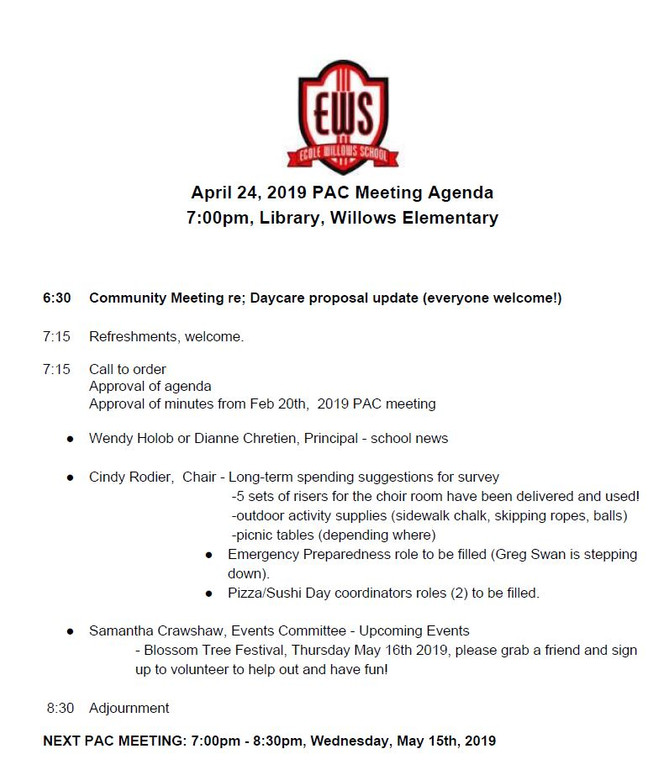 April 24, 2019 PAC Meeting Agenda