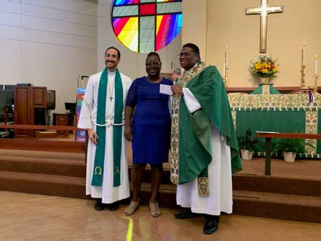 Rev. Sean Steele, St. Isidore Episcopal Church, Diocese of Texas; Michelle Myles Chambers, EIF Board; Rev. Ron Culmer of St. Clare's