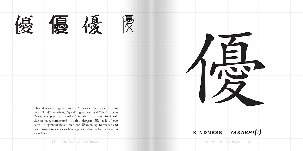 "This Wednesday's excerpt comes from Shogo Oketani and Leza Lowitz's new book, ""Kanji Box: Japanese Character Collection."" Bold, visual, profound, symbolic: Japanese kanji characters communicate powerful graphic messages that look great on skin, walls, stationery, T-shirts, and more.  Here are dozens of edgy, targeted characters hand-picked to help you find the inner you and express yourself in a distinctive stylish way. With cultural clues, readings, font varieties, and ideas for proper use. Here's an example of how Oketani and Lowitz linguistically break down such Japanese characters as ""kindness"" to reveal its etymological roots."