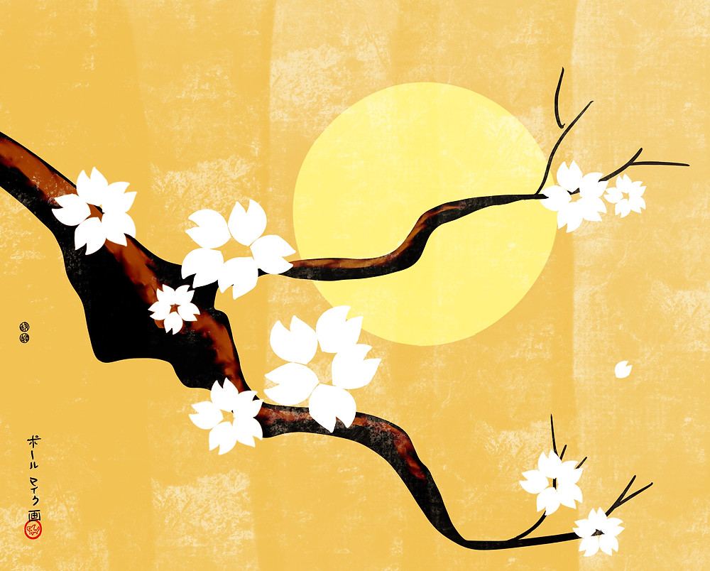 Sun and Blossoming Tree