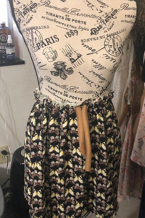 Neutral Drawstring Mini Skirt