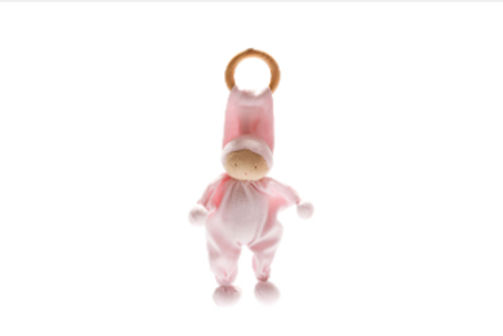 ORGANIC BABY COMFORTER AND TEETHING TOY, SOFT PINK