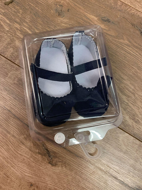 Girls Navy Pram Shoes
