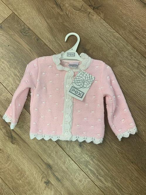 Pex Pink and White Cardigan