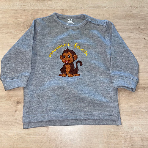 Grey 'Mwnci Fach' Embroidered Jumper