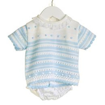 BABY BOYS 2 PC BLUE/WHITE KNITTED S/S JUMPER