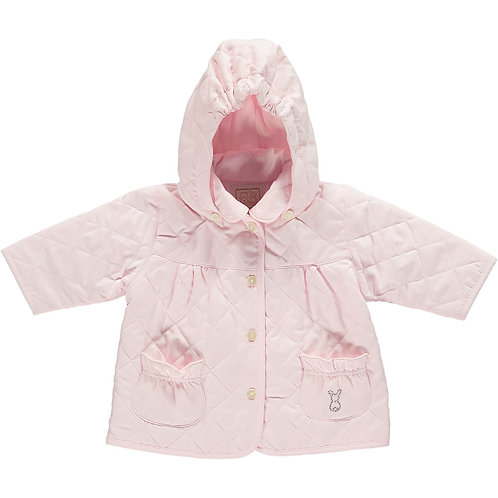 Emile et Rose PINK MICROFIBRE QUILTED JACKET WITH HOOD