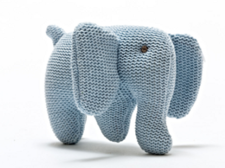 KNITTED BLUE ORGANIC COTTON ELEPHANT TOY FOR BABIES SUITABLE FROM BIRTH