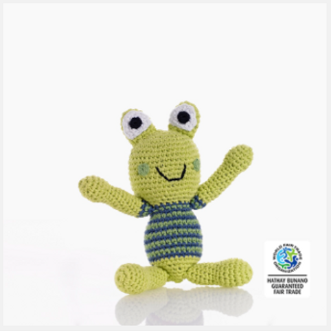 FROG SOFT TOY RATTLE, BLUE/GREEN BOY