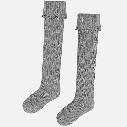 MAYORAL Grey Cable Knit Knee High Socks For Girl