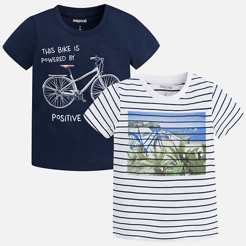 Mayoral Set of two striped and plain T-shirts for boy