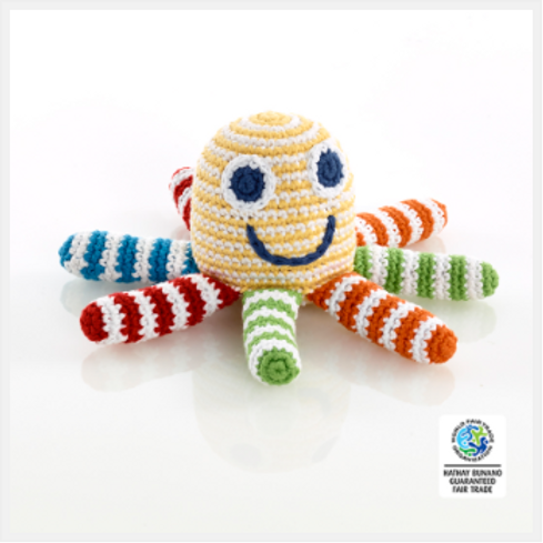 OCTOPUS TOY RATTLE, CROCHET CHEERFUL STRIPES.