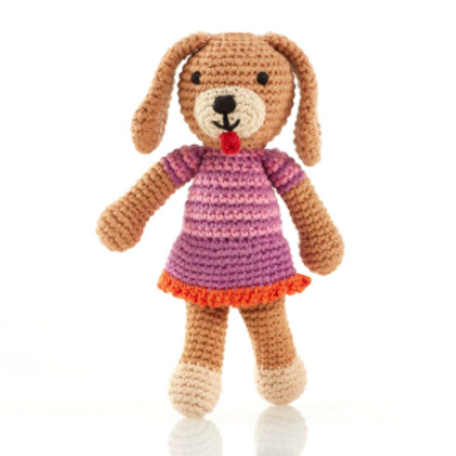 FAIR TRADE CROCHET DOG BABY RATTLE WITH PINK DRESS