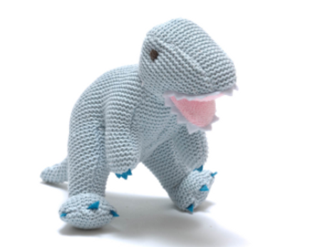 PALE BLUE COTTON T REX BABY RATTLE
