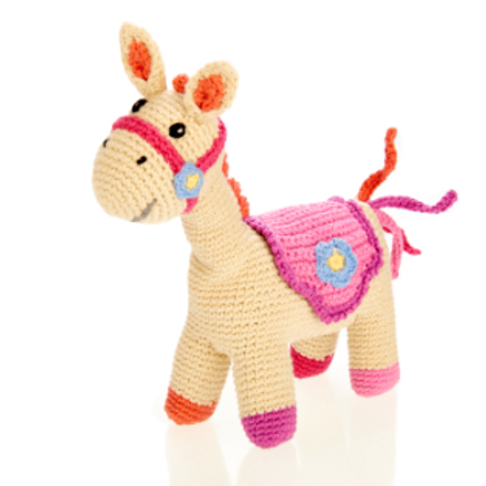 FAIR TRADE CROCHET COTTON PONY BABY RATTLE, PINK