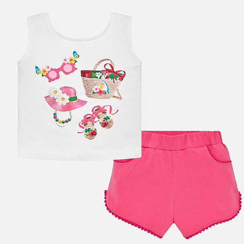 Mayoral T-shirt and shorts set with print for baby girl