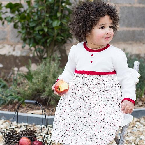 EMILE ET ROSE Naomi Girls Red Knit & Floral Winter Dress