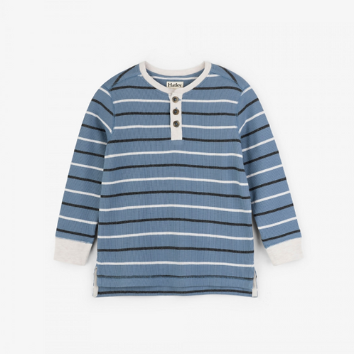 Hatley Carbon Blue Striped Waffle Henley Top