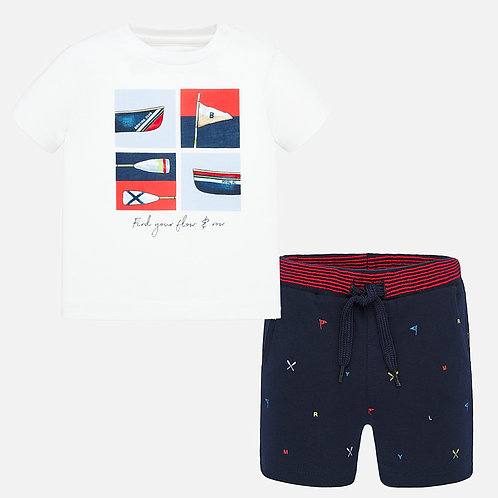 Mayoral t-shirt and patterned shorts set for baby boy