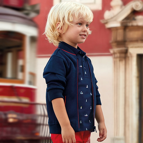 Mayoral Short sleeved patterned polo shirt for boy
