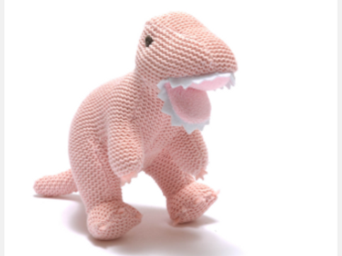 PALE PINK COTTON T REX BABY RATTLE
