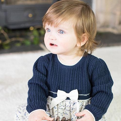 EMILE ET ROSE Nelly Girls Knit & Floral Winter Dress
