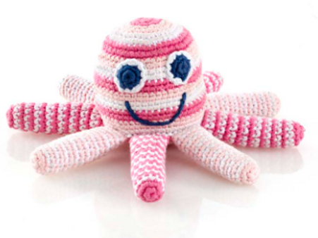 FAIR TRADE CROCHET COTTON OCTOPUS BABY RATTLE WITH PALE PINK STRIPES