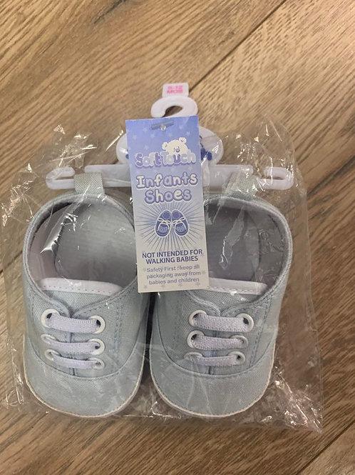 Soft Touch Boys Infant Shoes Pale Blue Lace-Ups