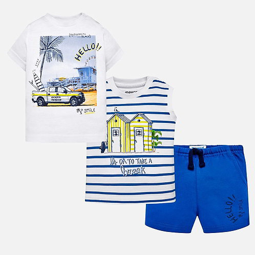 Mayoral 3 piece Surf print t-shirts and shorts set for baby boy